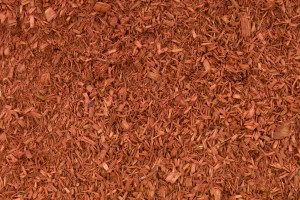 A photo of red, double-shredded mulch.