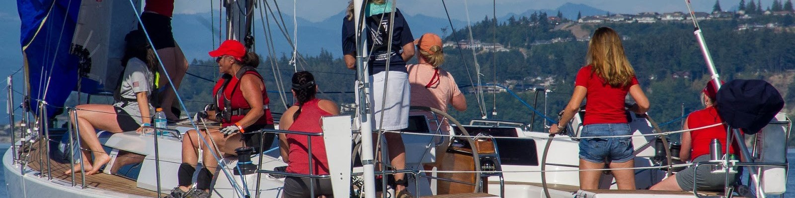 Yacht crew cheering