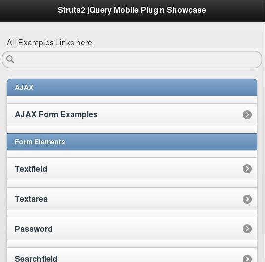 Struts2 jQuery Mobile Showcase