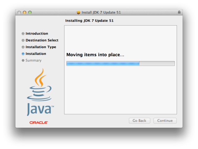JDK installation is smooth