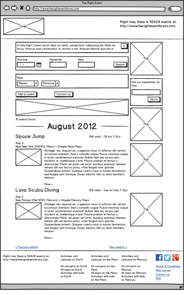 Example of Wireframe on a Website