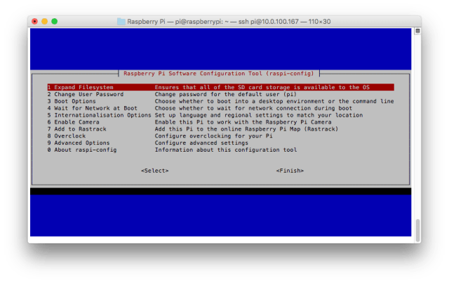 Raspberry Pi Configuration Tool (raspi-config) - Welcome Screen