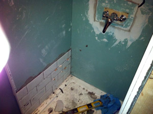 Prior to retiling shower in Edinburgh