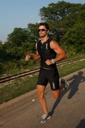 male jogging in zilker park