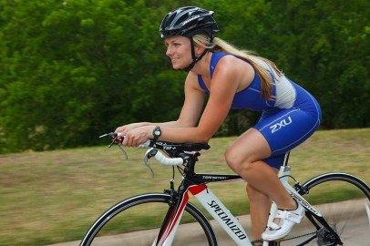 woman triathlete cyclist for the Bicycle Sport Shop