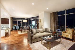 a living room in the Austonian building.