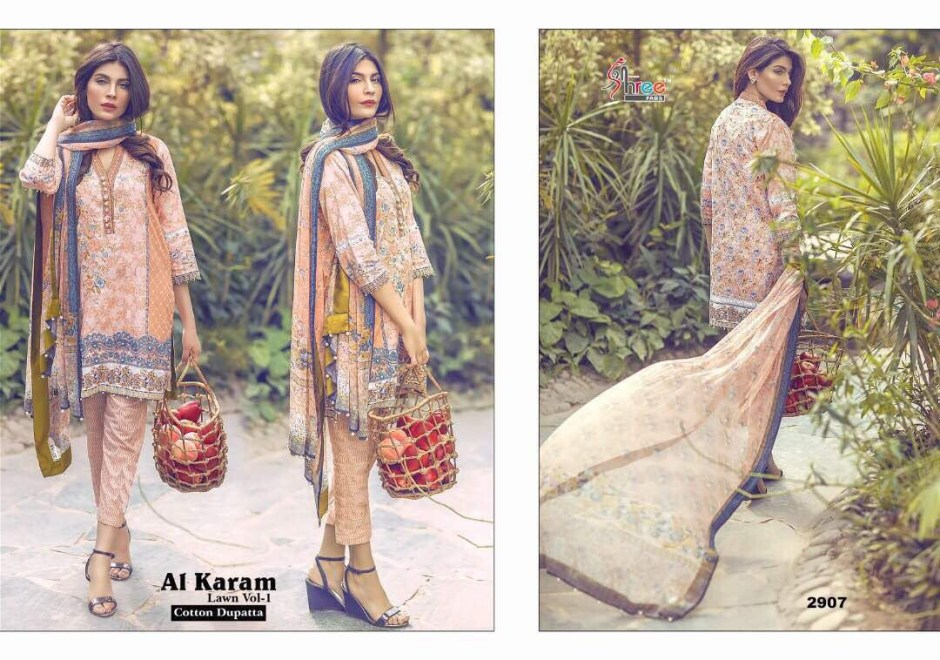 SHREE FABS AL KARAM LAWN VOL 1 PAKISTANI SUITS WHOLESALE