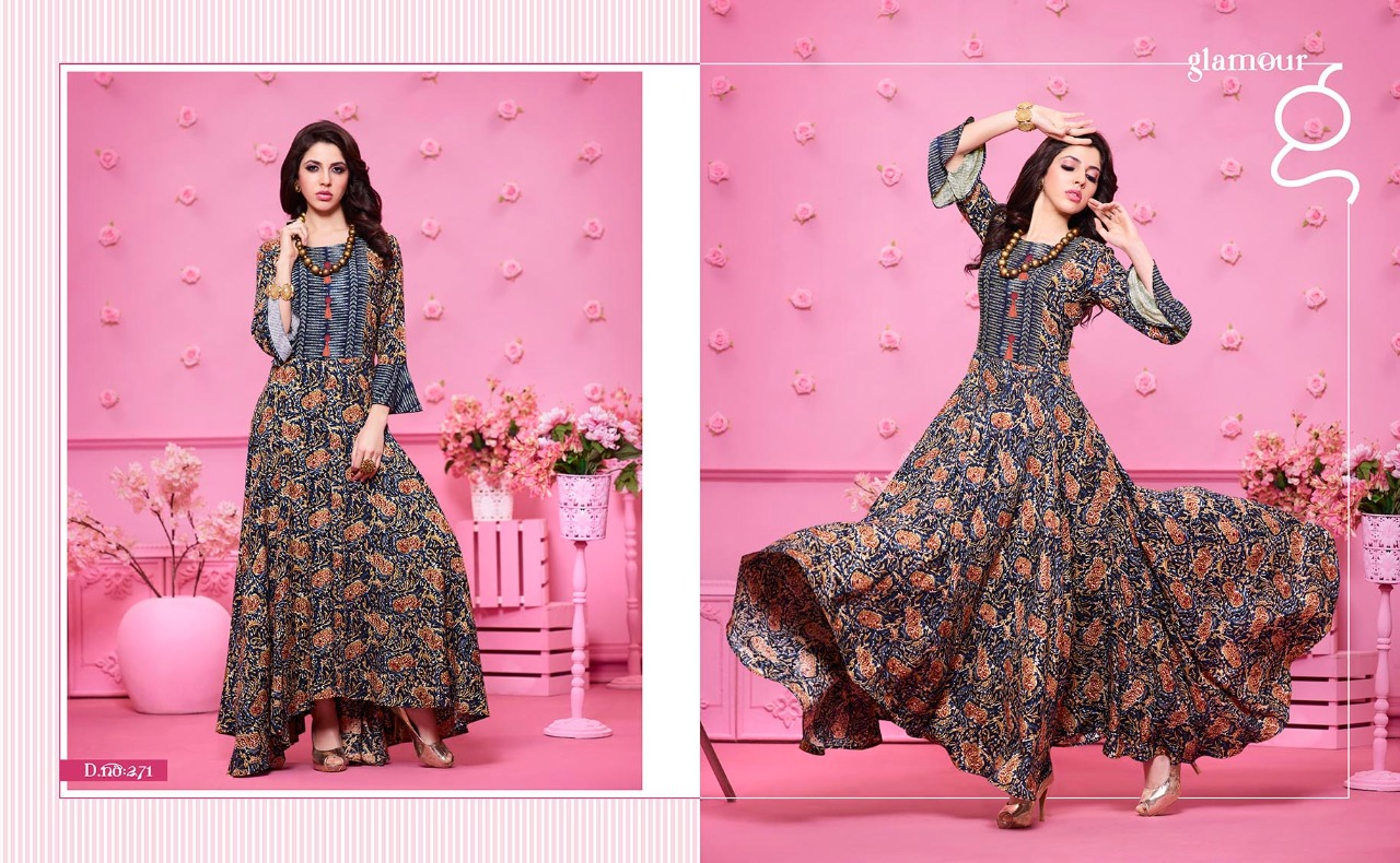 Kajree Fashion runway fancy gowns style Kurties catalog at Wholesale ...
