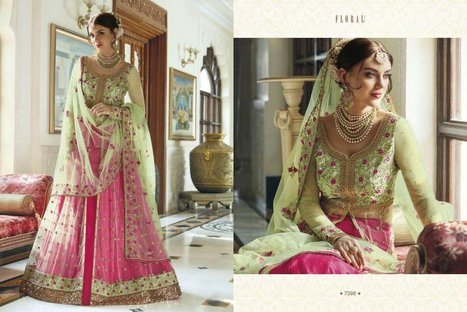 jinaam floral mughal design no. 7398 lehanga catalouge