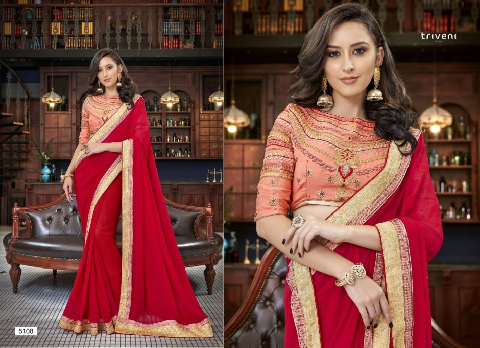 Triveni akansha sarees collection at wholesale rate