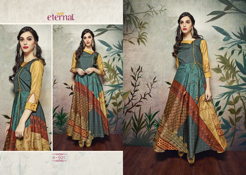 Presenting Silk mode hits by eternal summer collection of digital printed manipuri silk with Inner long kurtis