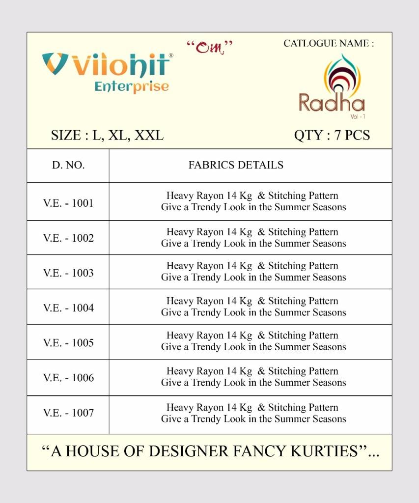 vilohit enterprise presents radha vol 1 collection of casual straight kurtis