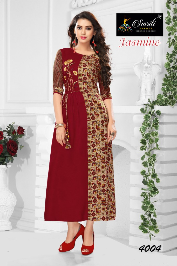 Smriti trendz presents jasmine gown style long kurtis