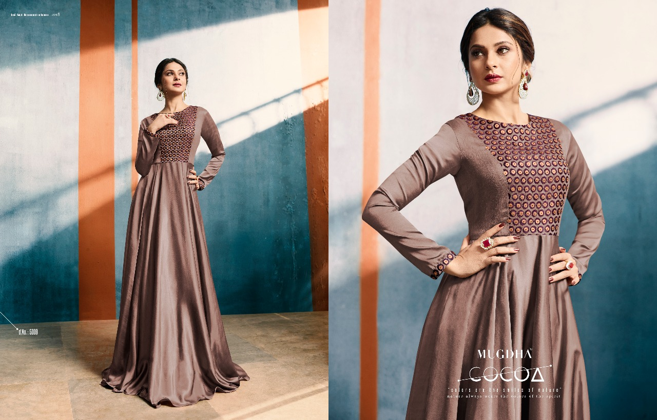 Mugdha presents elite style beautiful designer party wear gowns concept