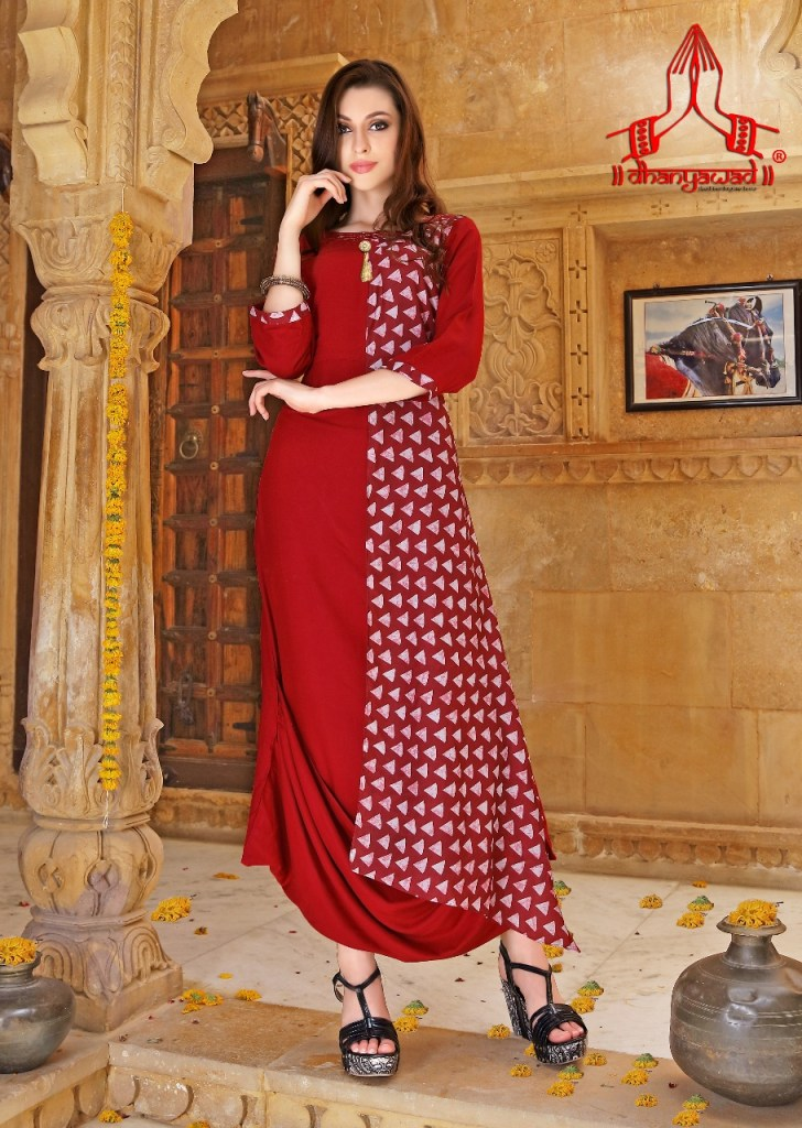 Dhanyawad presents aanya exclusive designer collection flair And Drapes kurtis