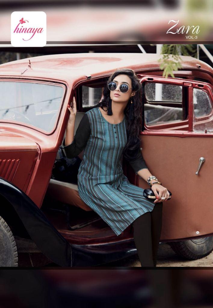 Hinaya zara vol 3 simple casual wear kurtis concept
