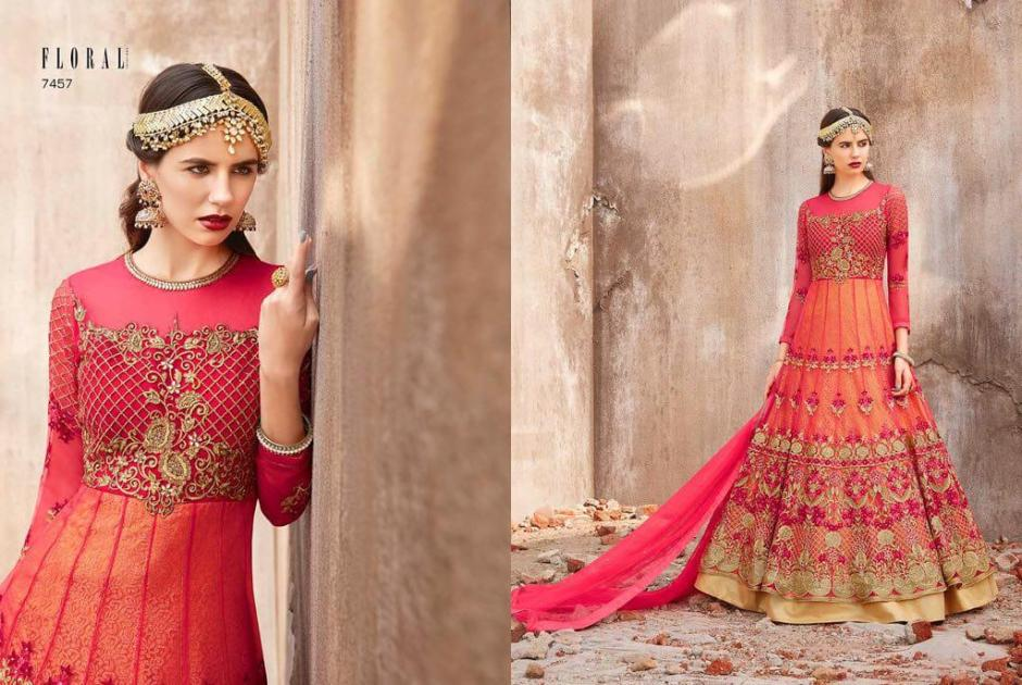 Jinaam dress p LTD presenting floral harmosa heavy bridal collection Of indo weatern gowns