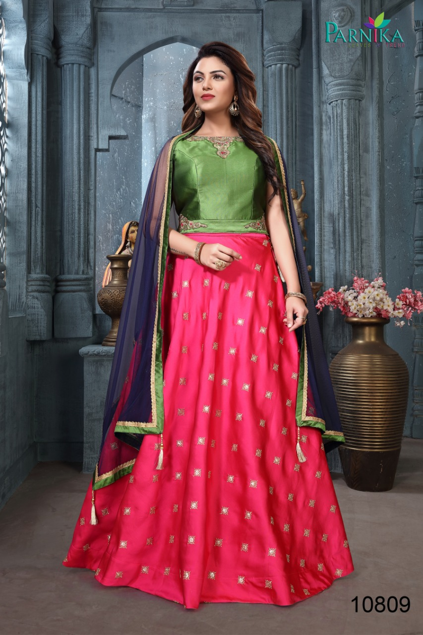 6c8a4ece0fb54 Parnika presenting series 10800 western look Lehengha crop top with skirt  concept