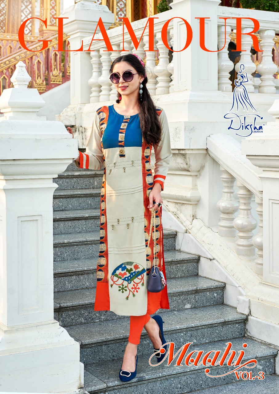 Diksha fashion maahi vol 3 casual ready to wear kurtis concept