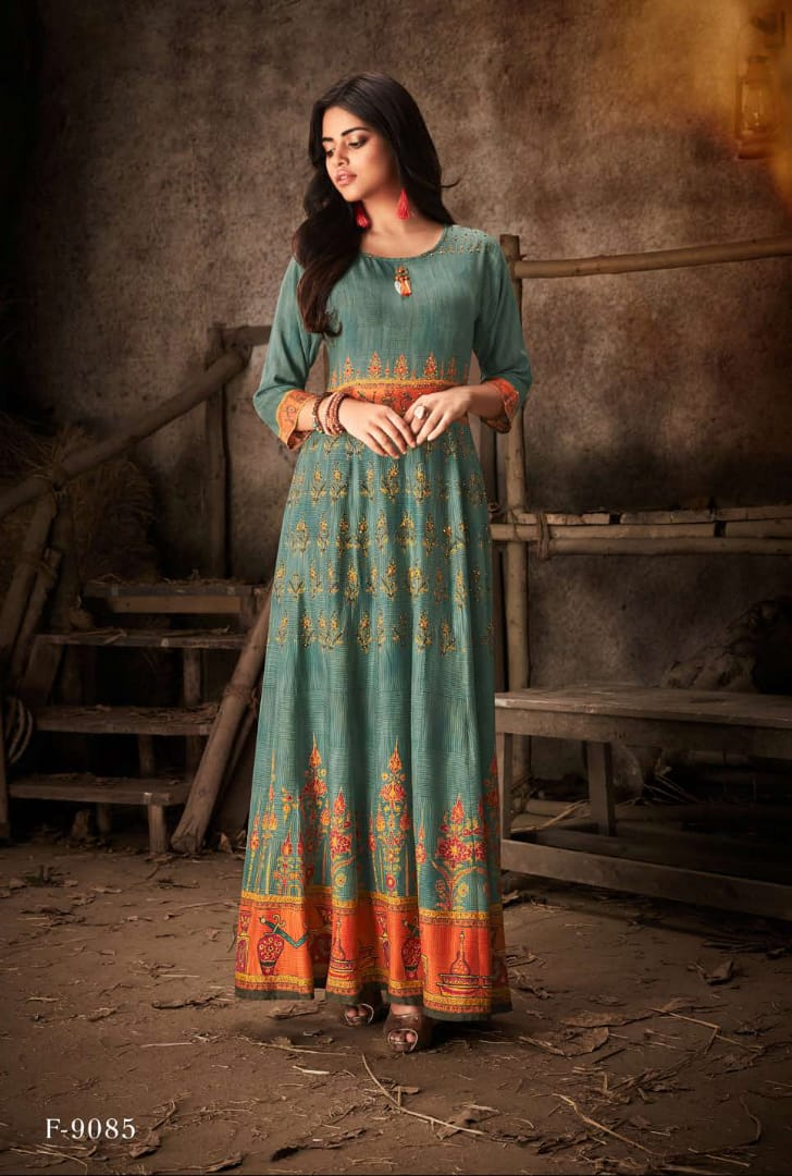 Feminista poshak simple elegant look long kurtis concept