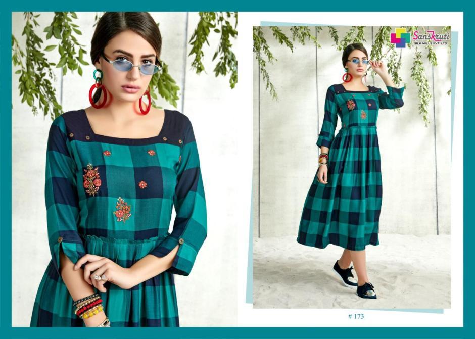 Sanskruti silk mills pvr lTD mIDIZ simple elegant trendy look kurtis concept