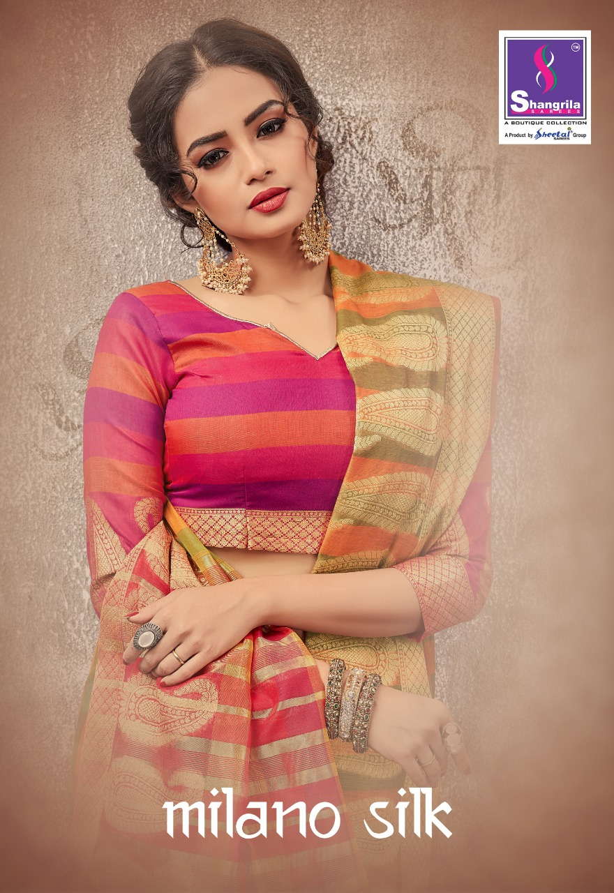 Shangrila milano silk exclusive stylish simple sarees collection