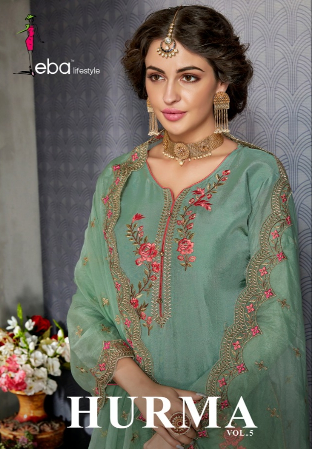 f128708ecb Eba lifestyle Hurma Vol 5 heavy embroidered party wear Salwar Kameez  Collection
