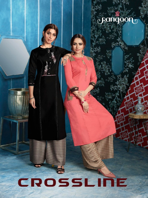 Rangoon crossline kurti with plazzo ready to wear concept
