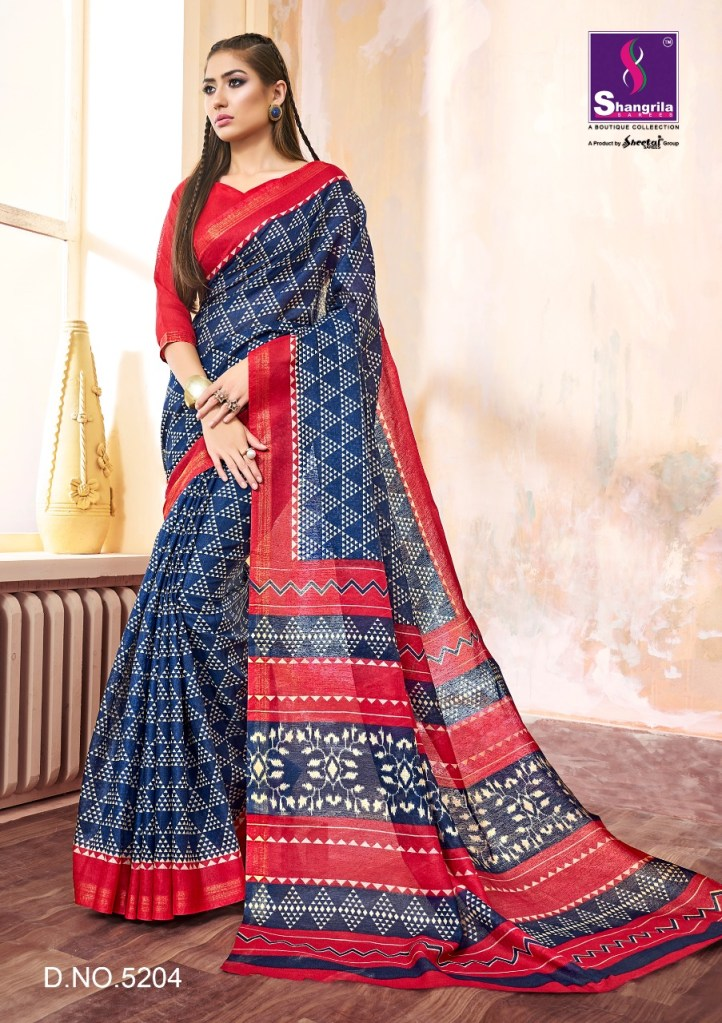 Shangrila linen silk beautiful trendy look sarees concept