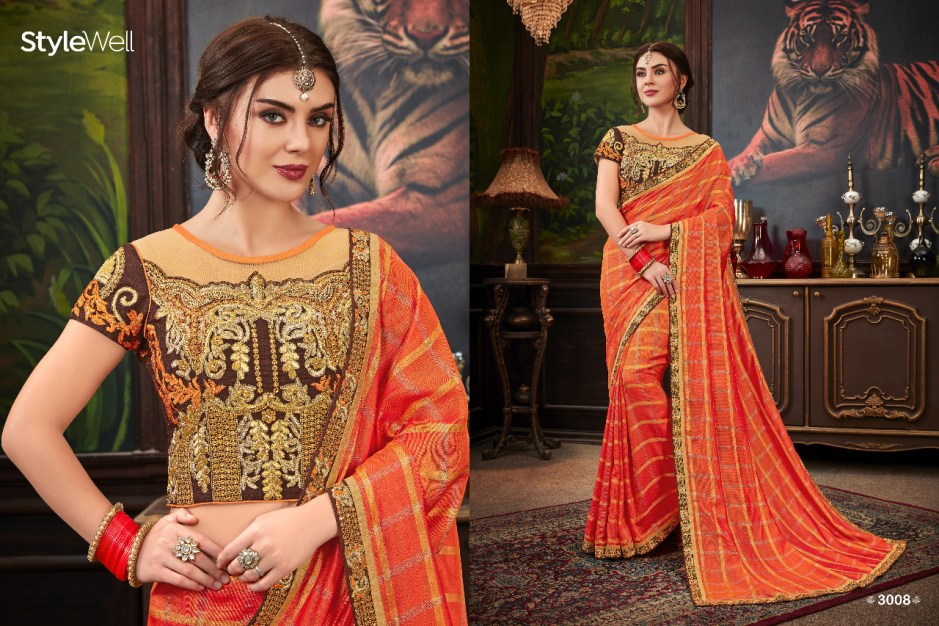 Stylewell swara Indian Traditional wedding wear beautiful Colours saree collection