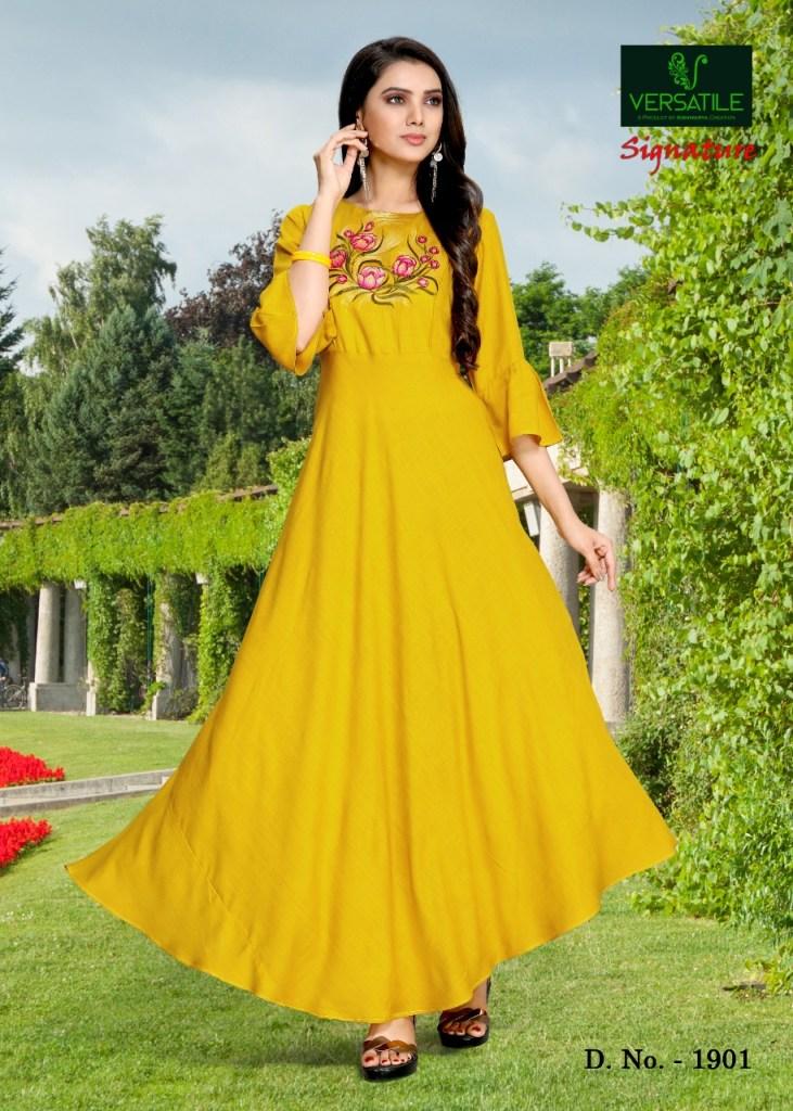 Versatile signature long flair casual wear Colourful kurties concept
