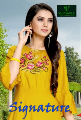 Versatile signature long flair casual wear Colourful kurties concept