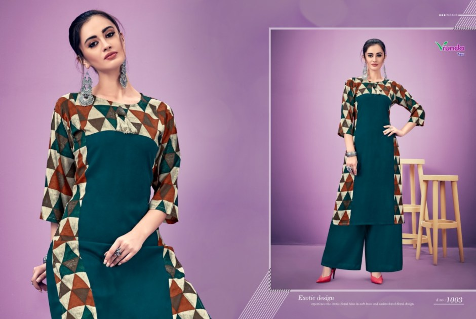 Vrunda tex lissa rayon designer Kurties Catalog ready To Wear