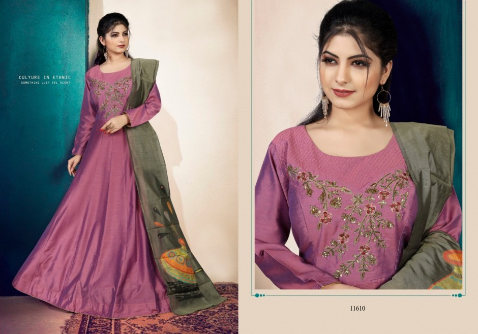 Gaabha rimzim colourful ethnic readymade gowns catalog at wholesale rate
