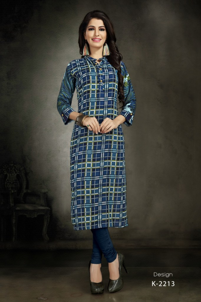 Gaabha sparkle fancy party wear printed Rayon Kurties Collection