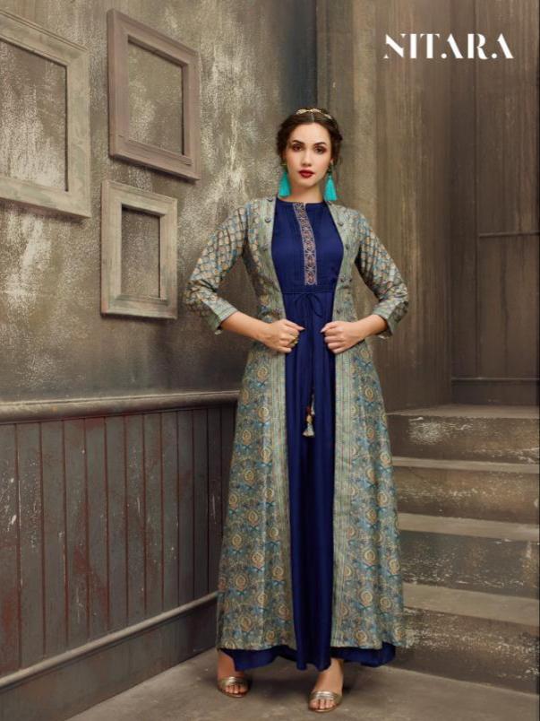 Nitara saira digital printed fancy kurti with jacket Catalog Dealer