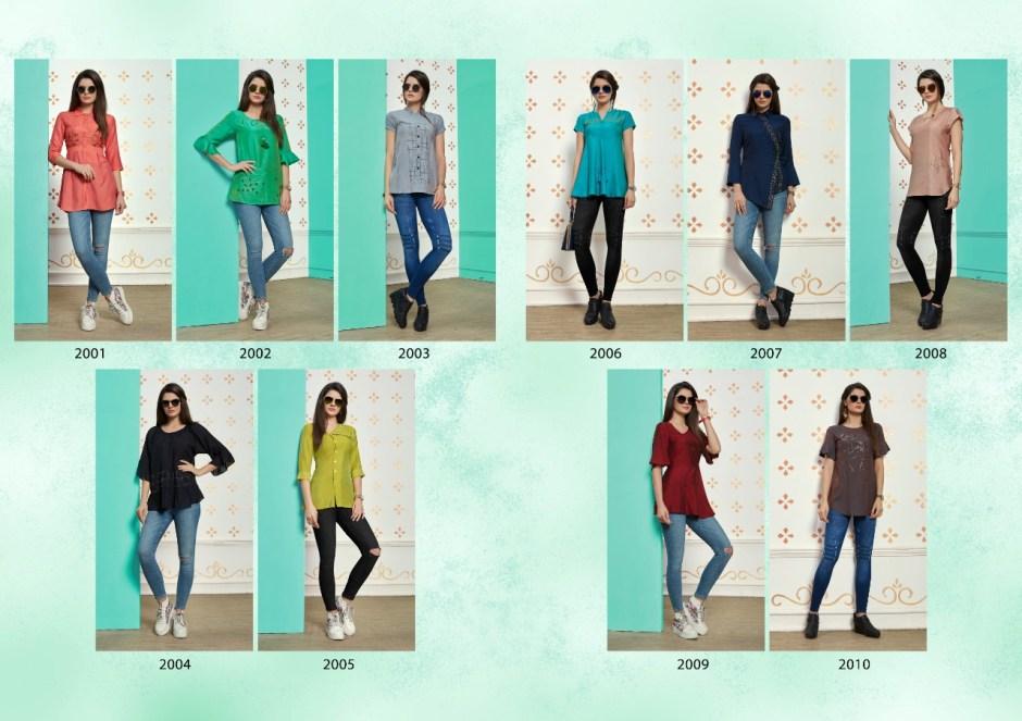 Nitisha nx muslin daily wear fancy colours short top catalog
