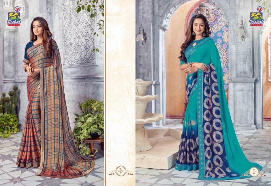 vishal prints signature vol 11 beautiful fancy casual wear sarees catalog at reasonable rate