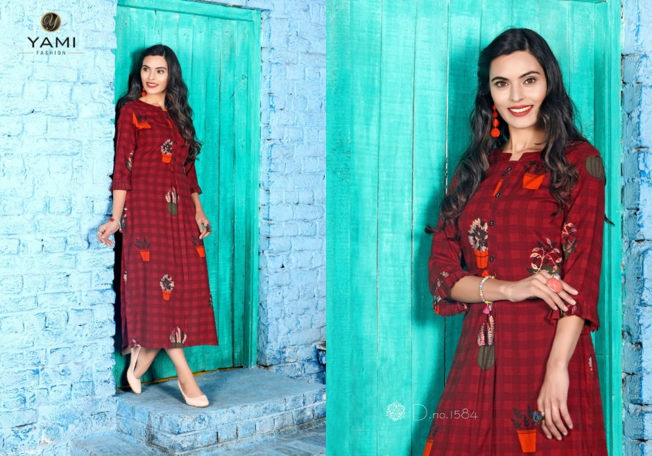 yami fashion pipermint colorful fancy kurtis collection at reasonable rate