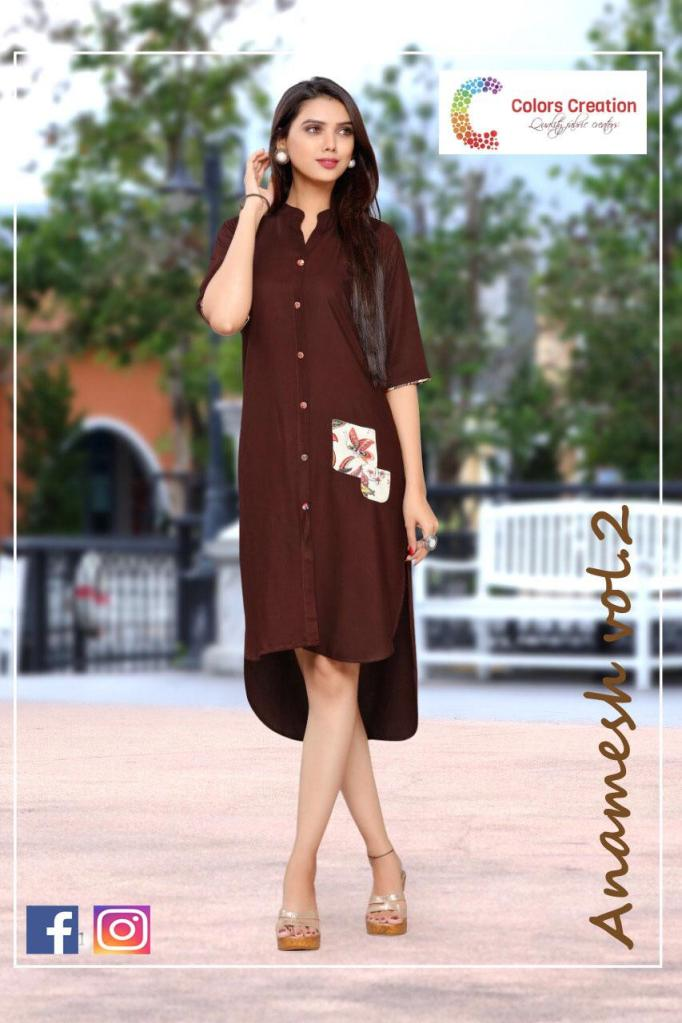color creation  anamesh vol 2 colorful ready to wear kurtis at reasonable rate