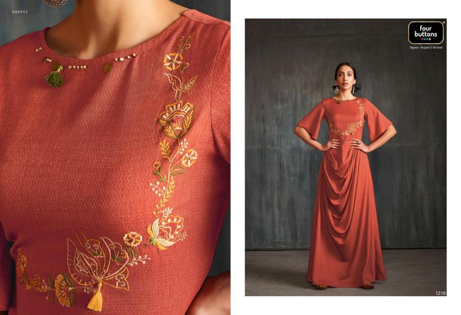 four buttons drapes fancy ready to wear collection of kurtis