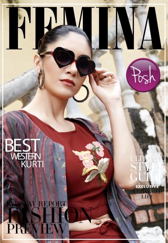 posh femina colorful fancy kurtis catalog at reasonable rate