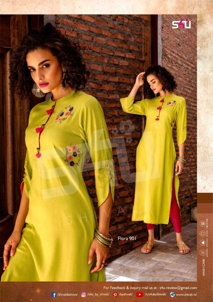 s4U fashion flora vol 9 colorful ready to wear kurtis catalog at reasonable rate