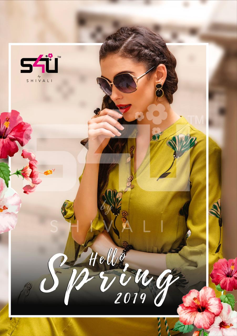 s4U hello spring 2019 colorful casual wear kurtis at reasonable rate