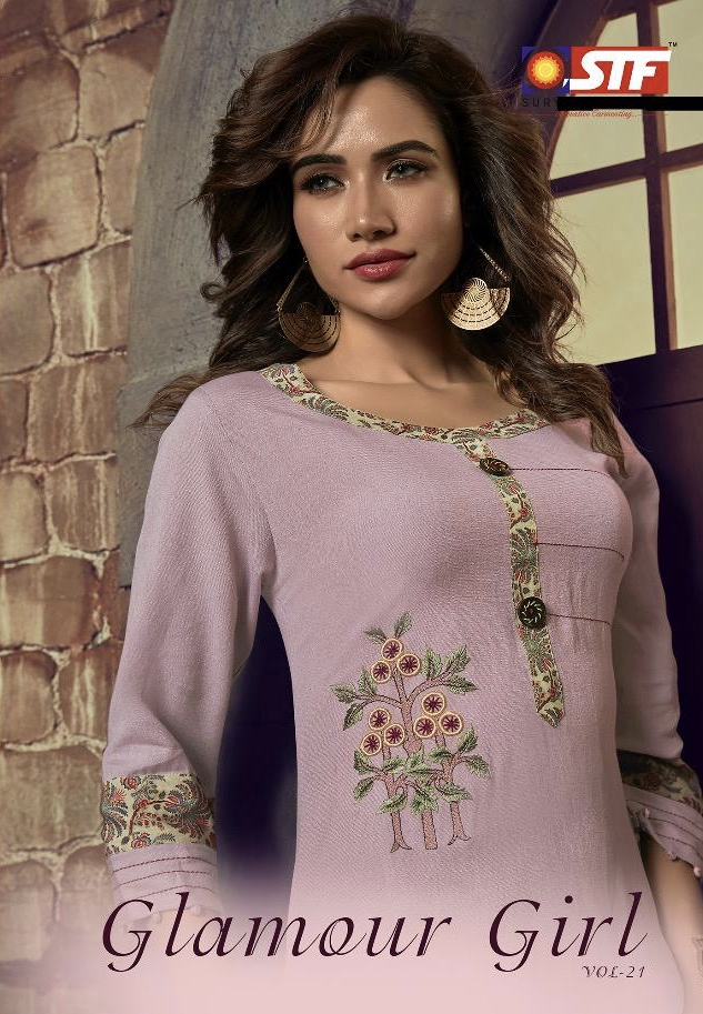 sTF kurtis glamour girl vol 21 colorful fancy ready to wear kurtis at reasonable rate