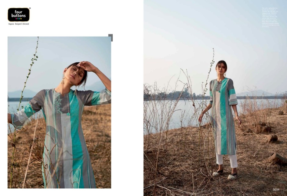 Four buttons breeze long straight kurties outfit