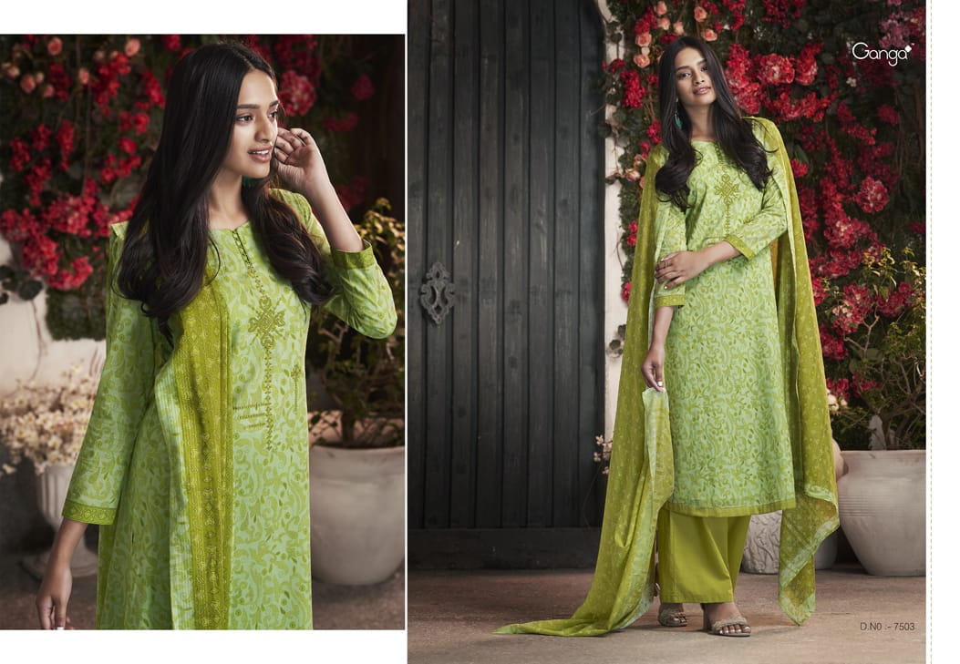 59dc7a7b9b Ganga petals printed cotton salwar kameez catalog at wholesale price