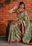 Manjubaa meher silk banarasi fancy printed saree