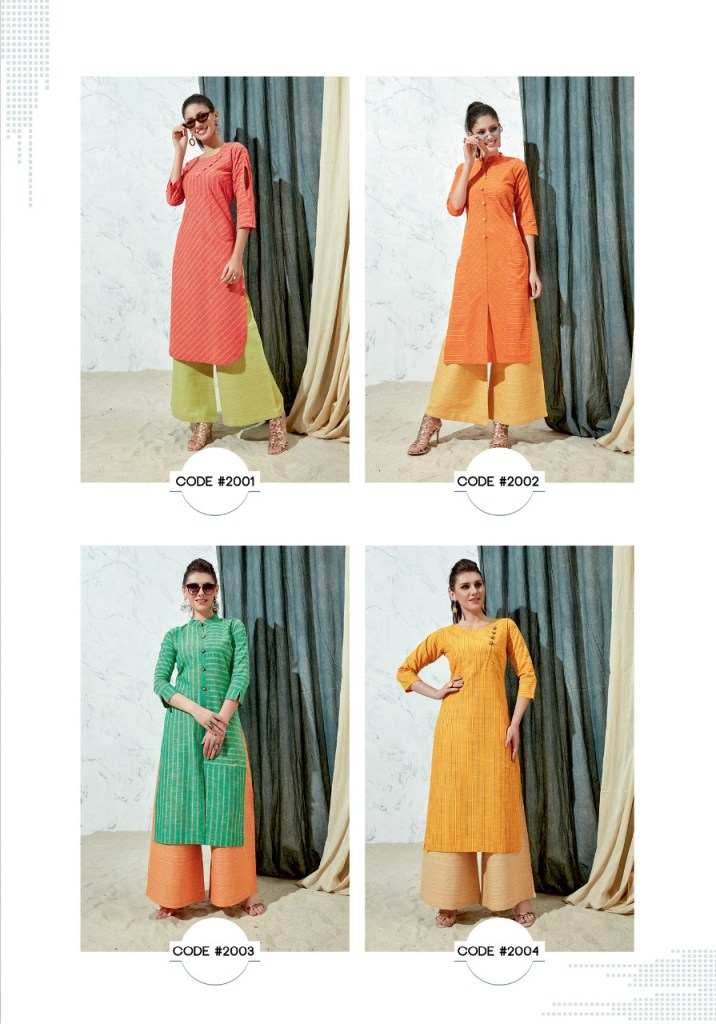 parra studio series colorful fancy collection of kurtis with plazzo at reasonable rate