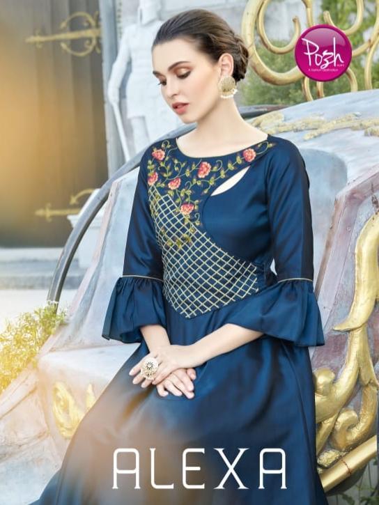 Posh alexa stylist ethnic gown style kurtis catalog Wholesaler